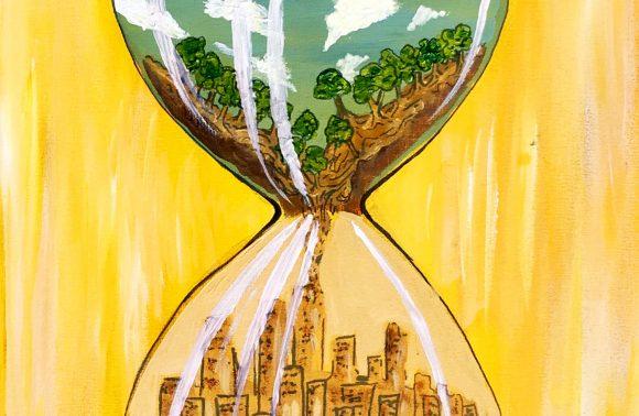 Wandlung der Welt in einer Sanduhr