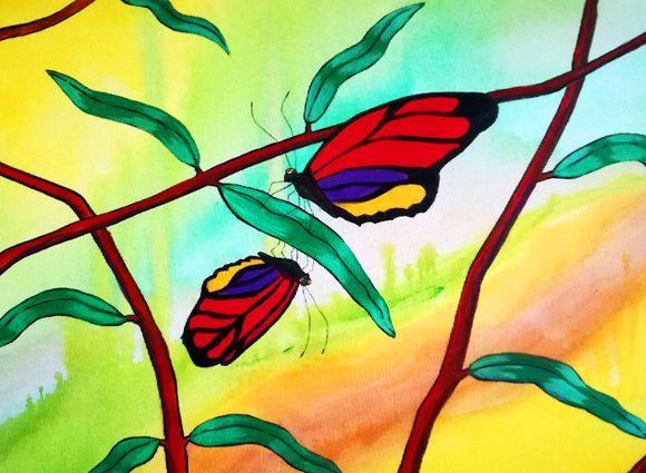 Bunte Schmetterlinge im Baum