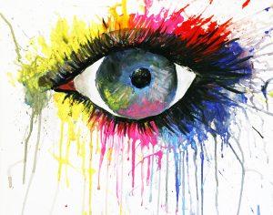 Auge in Neonfarbe