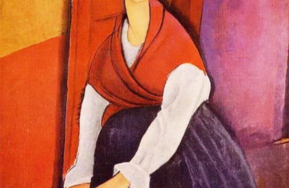 Jeanne Hebuterne in rotem Schal