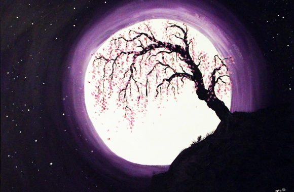 Trauerweide im Mondschein