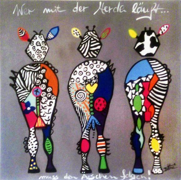 Drei Zebras kunterbunt