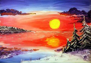 Weisse Winterlandschaft am See