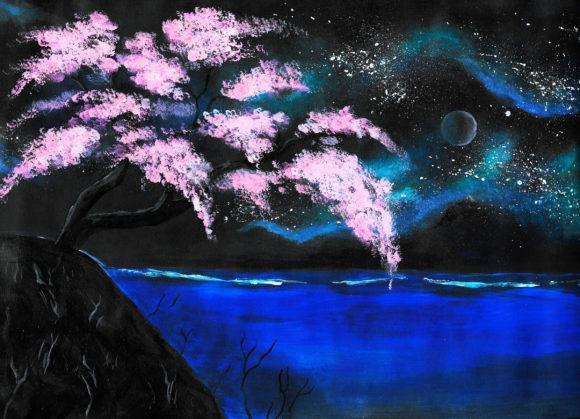 Kirschblüten vor Meer