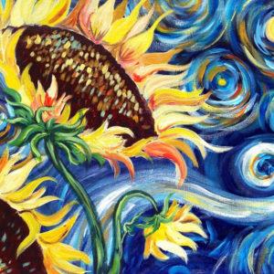 Paint like van Gogh – Starry Night Sunflower