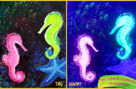 Leuchtende Seepferdchen